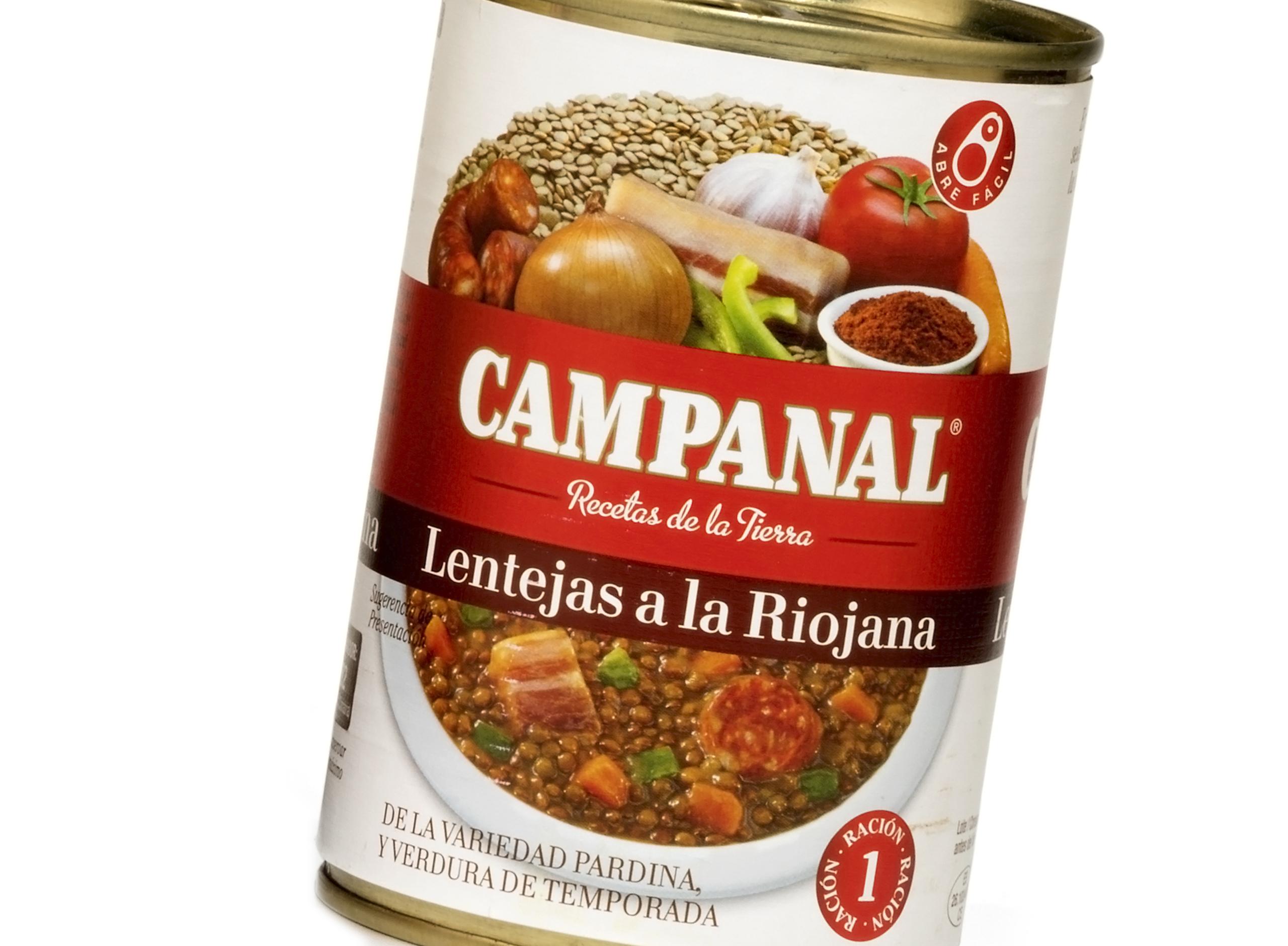 Lentejas a la Riojana Campanal Recetas de la Tierra. Etiquetas encolables. Labelgrafic